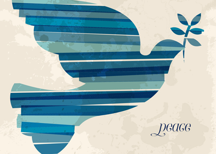 Blue Striped Dove of Peace Holiday Greeting Cards
