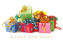 Colorful Gifts Happy Birthday Card