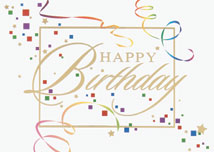 Streamers & Confetti Happy Birthday Card